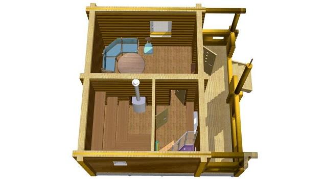 каркасный дом с балконом и терассой