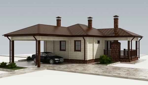 Дом с навесом для авто