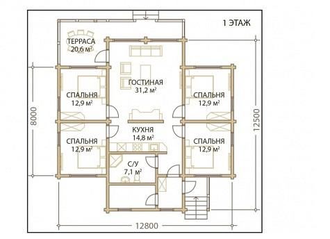 Проект дом 12,5х12,8 от 1 440 000 руб